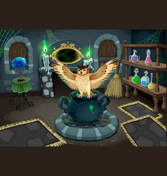 witch room with owl vector image