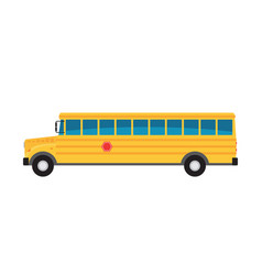 Yellow school bus - concept icon in flat graphic vector