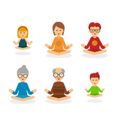 meditation people cartoon character isolated on vector image vector image