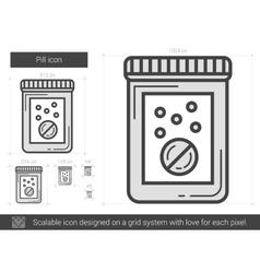 Pill line icon vector