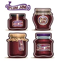 Plum jam in glass jars vector