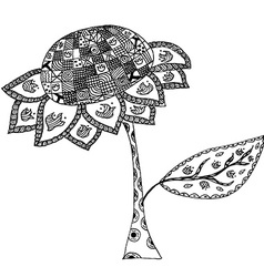 Sunflower in doodle style vector image