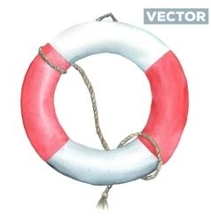 Watercolor lifebuoy vector image
