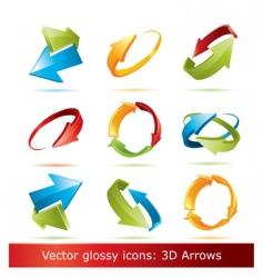 3d arrows set vector image vector image