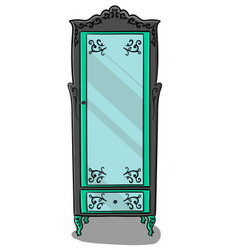 A gray cupboard with turquoise details and a vector