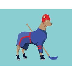 Hockey Dog Mascot in Blue Sportswear vector image vector image