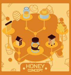 honey color isometric concept icons vector image vector image