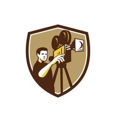 Movie director movie film camera shield retro vector