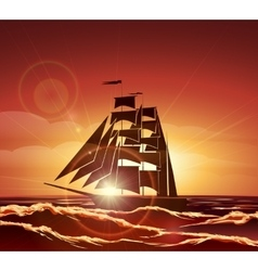 Sailing Ship in the Ocean vector image