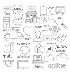 Social network icons composition vector image