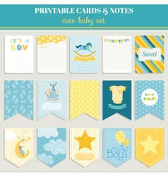 Baby Boy Card Set - for birthday baby shower party vector image vector image