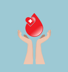 blood donation concept blood with hand vector image