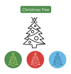 christmas tree line icon vector image