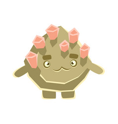 Cute pensive stone with pink crystals cartoon vector