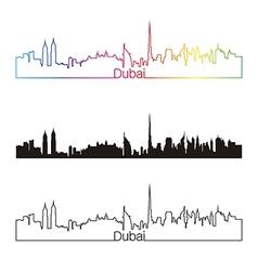 Dubai skyline linear style with rainbow vector