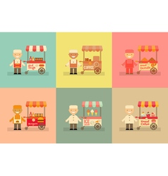Food Carts with Sellers Set vector image vector image