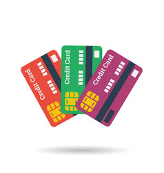 Icon of three credit plastic cards vector