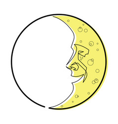 man in the moon continuous line vector image vector image