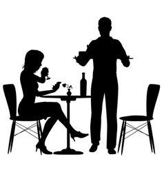 man serving meal vector image vector image