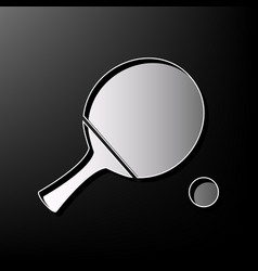 ping pong paddle with ball gray 3d vector image