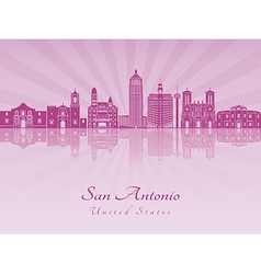 San Antonio skyline in purple radiant orchid vector image vector image