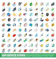 100 device icons set isometric 3d style vector image