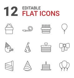 12 birthday icons vector
