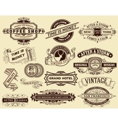 15 labels and banners elements by layers vector