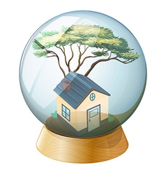A crystal ball with a house inside vector image
