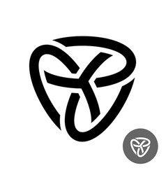Abstract triple knot logo three ovals connected vector