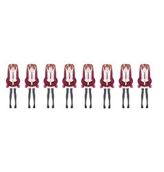 anime manga schoolgirl plaid red skirt tie pattern vector image