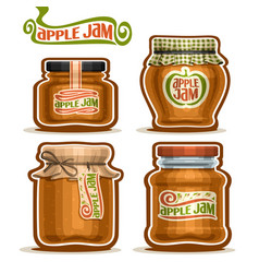 apple jam in glass jars vector image