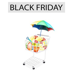 Beach Items in Black Friday Shopping Cart vector