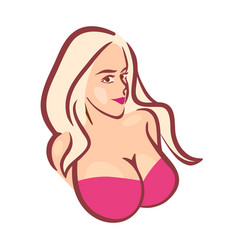 beautiful girl in pink bra with big boobs - vector image