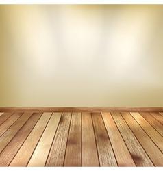 Beige wall with spot lights wooden floor EPS 10 vector image