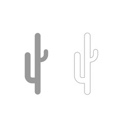 Cactus grey set icon vector