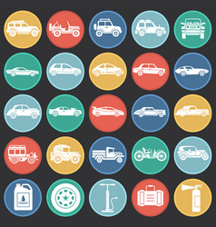 cars icons set on color circles background for vector image