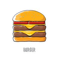 Cartoon burger with cheese meat and salad vector