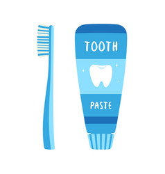 Cartoon toothbrush and toothpaste isolated vector