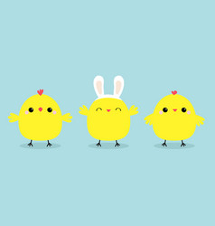 chicken bird set line face head wearing rabbit vector image