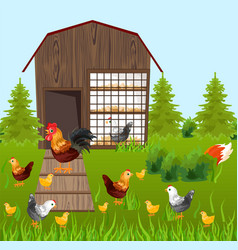 Chicken farm coop spring season green vector