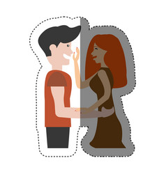 Couple romantic gesture shadow vector