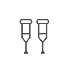 crutches line icon vector image