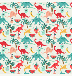 Cute background with dinosaurs and fruits vector