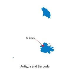 Detailed map of Antigua and Barbuda and capital vector