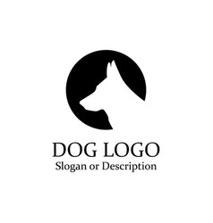 dog wolf logo minimalist black circle - isolated vector image