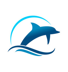 dolphin marine jump symbol design vector image