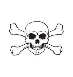 Doodle skull jolly roger with crossbones behind vector