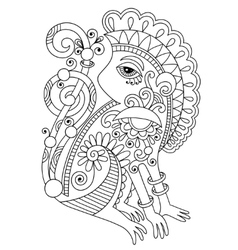 drawing of ethnic monkey in decorative ukrainian vector image