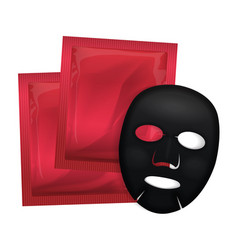 facial black mask cosmetics pack package vector image